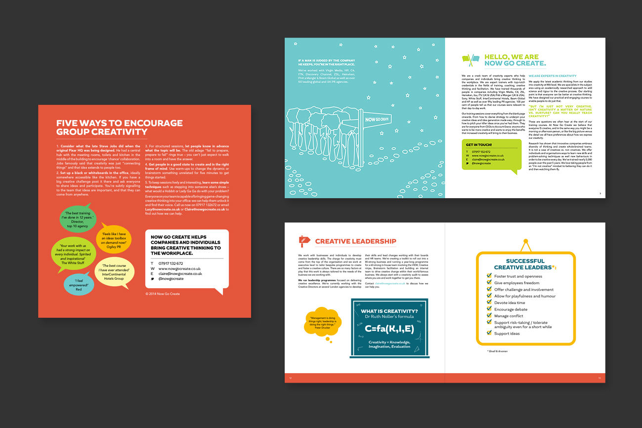 Now Go Create - branding design, brochure design, illustration